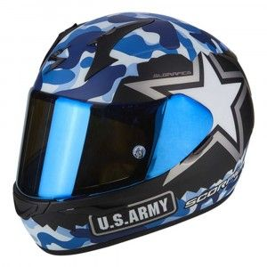 Scorpion Integraalhelm EXO-390 Army Matt Black/Blue